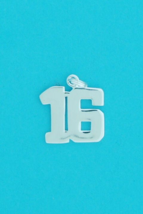 Genuine 925 Sterling Silver 13mm Number Sixteen Charm Pendant